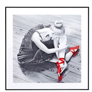 Majestic Mirror Square Ballerina with Ballet Slipper Framed Graphic Art in Red