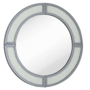 Majestic Mirror Contemporary Round Wood Framed Smoked Mirror w/ Glass Beads Hanging Wall Mirror