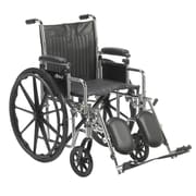 "Chrome Sport Wheelchair, Adjustable and Detachable Desk Arms, Elevating Leg Rests, 18"" Seat"
