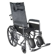 """Silver Sport Reclining Wheelchair with Elevating Leg Rests, Detachable Full Arms, 16"""" Seat"""