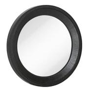 Majestic Mirror Round Black w/ Natural Wood Grain Circular Glass Shaped Hanging Wall Mirror