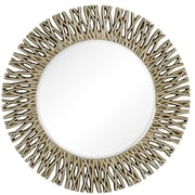Majestic Mirror Large Round Antique Silver Decorative Beveled Glass Wall Mirror
