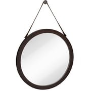 Majestic Mirror Round Urban Modern Leather Strap Decorative Hanging Wall Mirror