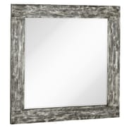 Majestic Mirror Square Mirror w/ Black Rubbed Silver Leaf Wood Frame