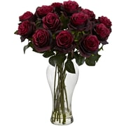Nearly Natural Blooming Roses w/ Vase; Burgundy
