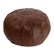 Casablanca Market Embroidered Leather Ottoman; Brown