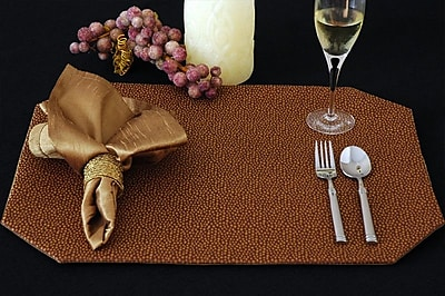 Pacific Table Linens Naples Table Linen Reversible Placemat Set of 2 ; C01 Saddle Gold