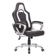 HomCom Heated Massaging Office Chair; Black/White