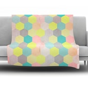 KESS InHouse Pastel Hexagon by Louise Machado Fleece Throw Blanket; 90'' H x 90'' W x 1'' D
