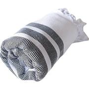 Lunasidus Dadya Herringbone Cotton Peshtemal Bath Towel; Black