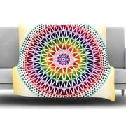 KESS InHouse Colorful Vibrant Mandala by Famenxt Fleece Throw Blanket; 40'' H x 30'' W