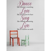 Design With Vinyl Dance Like Nobody Bl Size Wall Decal; 14'' H x 30'' W x 0.16'' D