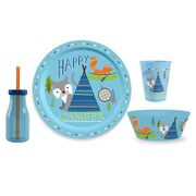 TarHong Happy Camper Polypropylene 4 Piece Dinnerware Set