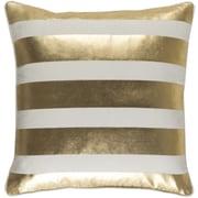 Artistic Weavers Glyph Stripe Cotton Throw Pillow Cover; Metallic Gold/ White