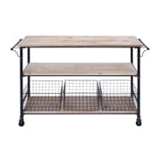 Cole & Grey Metal and Wood Basket Utility Cart