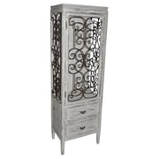 Crestview Santa Rosa 2 Drawer Distressed Metal and Wood Cabinet