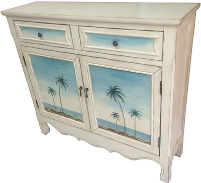 Crestview Seaside Coastal Scene 2 Door and 2 Drawer Cabinet WYF078278806200