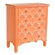 Crestview Vivid 3 Drawer Chest; Orange