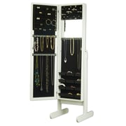 Mirrotek Makeup Organizational Jewelry Armoire with Mirror; White
