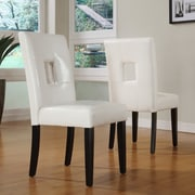 Kingstown Home Breanne Keyhole Side Chair (Set of 2); White / Espresso