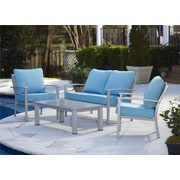 Cosco Home and Office Outdoor Brushed Aluminum Patio Furniture 4 Piece Deep Seating Group w/Cushion