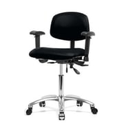 Perch Chairs & Stools 12'' Multi-Task Office Chair with Adjustable Armrests; Black