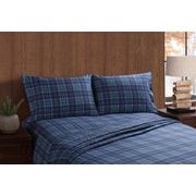 Remington Moose and Canoe Plaid Sheet Set; King