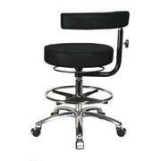 Perch Chairs & Stools Height Adjustable Dental Stool w/ Procedure Arm; Black Fabric