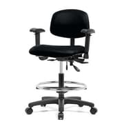 Perch Chairs & Stools 12'' Multi-Task Office Chair with Adjustable Armrests and Foot Ring; Black