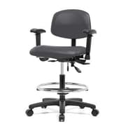 Perch Chairs & Stools 12'' Multi-Task Office Chair with Adjustable Armrests and Foot Ring; Charcoal