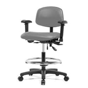 Perch Chairs & Stools 12'' Multi-Task Office Chair with Adjustable Armrests and Foot Ring; Gray