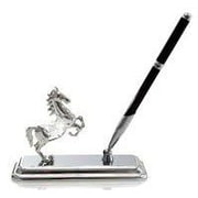 MatashiCrystal Horse Pen Holder; Silver Plated