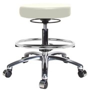 Perch Chairs & Stools Height Adjustable Massage Therapy Swivel Stool w/ Foot Ring; Adobe White Vinyl