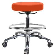 Perch Chairs & Stools Height Adjustable Massage Therapy Swivel Stool w/ Foot Ring; Orange Kist Vinyl