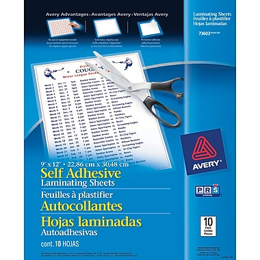 Avery® - feuilles à auto plastification, 9