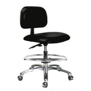 Perch Chairs & Stools 12'' Lab Chair with Basic Backrest and Foot Ring; Black