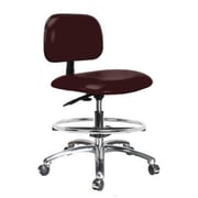 Perch Chairs & Stools 12'' Lab Chair with Basic Backrest and Foot Ring; Burgundy