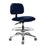 Perch Chairs & Stools 12'' Lab Chair with Basic Backrest and Foot Ring; Imperial Blue