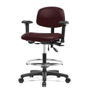 Perch Chairs & Stools 12'' Multi-Task Office Chair with Adjustable Armrests and Foot Ring; Burgundy
