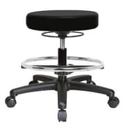 Perch Chairs & Stools Height Adjustable Swivel Stool w/ Foot Ring; Black Fabric