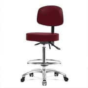 Perch Chairs & Stools Height Adjustable Doctor Stool w/ Foot Ring; Burgundy Vinyl