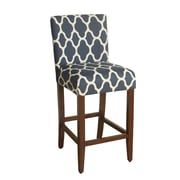 HomePop Geo Brights 29'' Bar Stool with Cushion; Navy Blue