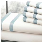 Amrapur 6 Piece Egyptian Stripe Sheet Set in White/Blue; Queen