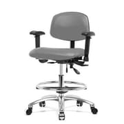 Perch Chairs & Stools Low-Back Drafting Chair; Grey Vinyl