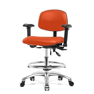 Perch Chairs Stools Low Back Drafting Chair Orange Kist Vinyl Staples