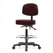 Perch Chairs & Stools Height Adjustable Doctor Stool w/ Foot Ring; Burgundy Fabric