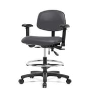 Perch Chairs & Stools 12'' Lab Chair with Basic Backrest and Foot Ring; Charcoal