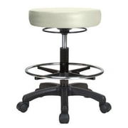 Perch Chairs & Stools Height Adjustable Stool w/ Foot Ring; Adobe White Vinyl