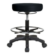 Perch Chairs & Stools Height Adjustable Stool w/ Foot Ring; Black Vinyl