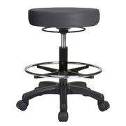 Perch Chairs & Stools Height Adjustable Stool w/ Foot Ring; Charcoal Vinyl